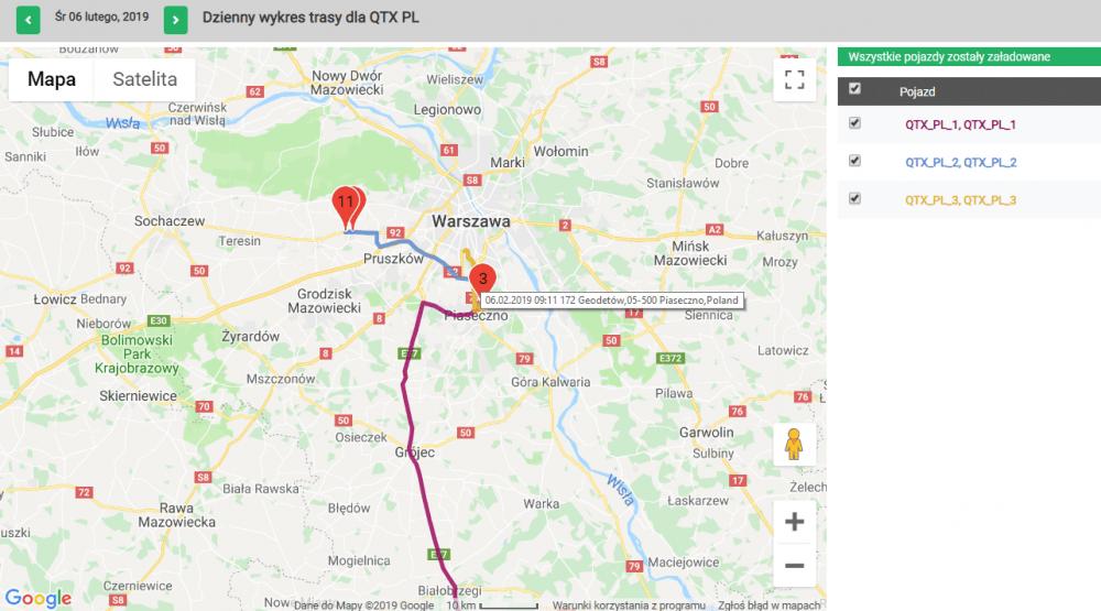 dzienny wykres trasy dla - daily route map