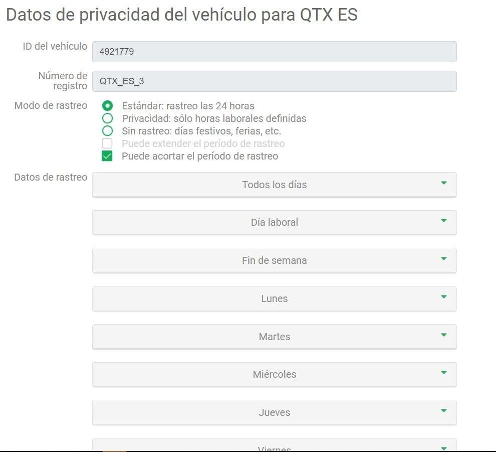 privacy - datos de privacidad de vehiculo