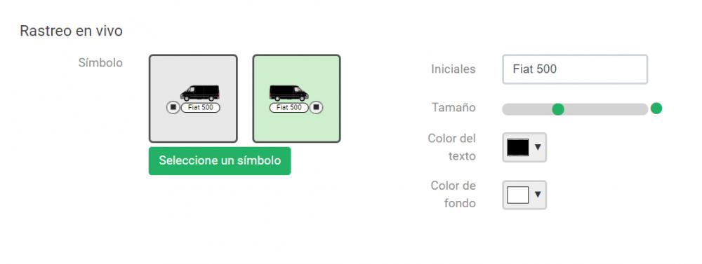 Personalización de iconos de seguimiento en tiempo real