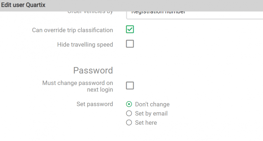 Edit user password changes
