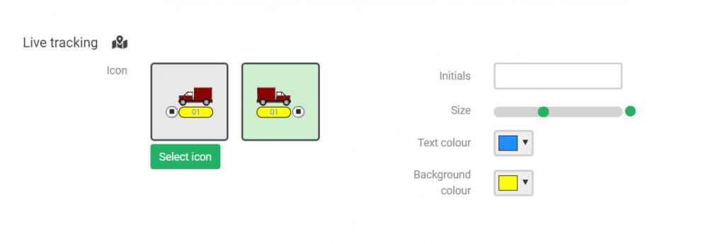 Live tracking icon customisation