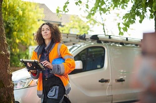 vehicle tracking van driver at work